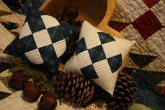 Primitive Basket Fillers Winter Patchwork Pillow Nine Patch