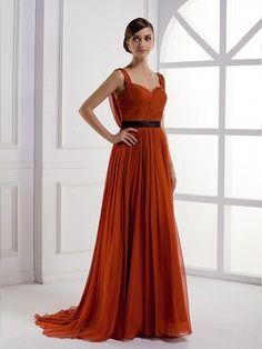 Sweetheart A-line silk chiffon women dress.