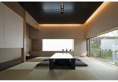 bCd - Too minimalist for me but good example of Japanese aesthetics. Modern Japanese Interior, Japanese Home Decor, Japanese Modern, Modern Interior, Interior Architecture, Asian Bedroom Decor, Asian Home Decor, Tatami Room, Traditional Japanese House