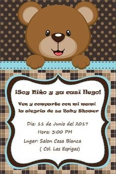 20 Ideas baby shower ides invitaciones oso for 2019 Tarjetas Baby Shower Niña, Baby Shower Invitaciones, Invitacion Baby Shower Originales, Baby Shower Niño, Bear Theme, Baby Shawer, Boy Baptism, Holidays And Events, Shower Invitations