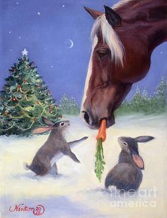 Christmas horse sharing a carrot <3