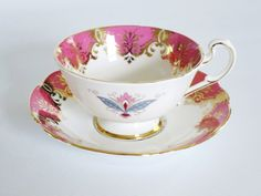 Pink Paragon Tea Cup and Saucer  /  Vintage Paragon Medallion Snowflake Teacup Set  /  Vintage Pink Cups and Saucers - pinned by pin4etsy.com
