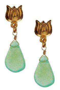 Eliza Dyed Jade Briolette & Blossom Post Earrings