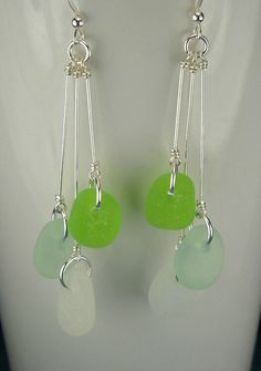 Sea Glass Earrings Sterling Silver by seaglassgems4you on Etsy, $42.00