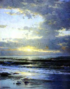 William Trost Richards Sunrise on the Beach painting for sale - William Trost Richards Sunrise on the Beach is handmade art reproduction; You can buy William Trost Richards Sunrise on the Beach painting on canvas or frame. Seascape Paintings, Landscape Paintings, Oil Paintings, Abstract Landscape, Abstract Art, Watercolor Sky, Sea Art, Oil Painting Reproductions, Fine Art