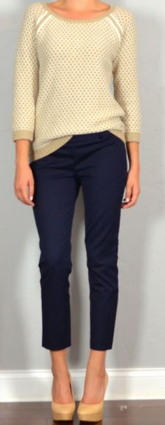 Guest outfit post – sister week: beige sweater, navy crop pants, nude heels