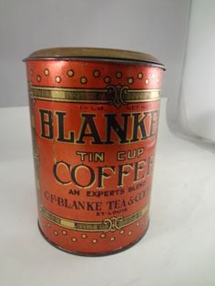 ebay-BLANKE'S TIN CUP COFFEE TIN CAN VINTAGE ADVERTISING 706-O