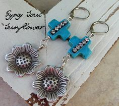 gypsy soul Earrings with Shabby Southern Gypsy style bohemian sunflowers in sterling silver are suspended from turquoise bling crosses with vintage charm by deborahmcgovern on etsy, $24.00