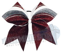 rhinestone-glitter-arch-Maroon-grey-white-cheer-bow-full-glitter Softball Bows, Cheerleading Bows, Cheer Stunts, Cheer Spirit Sticks, Competition Bows, Cheer Pictures, Softball Pictures, Cheer Hair Bows, High School Cheer