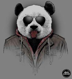 Эскиз – панда в куртке и очках показывает язык
