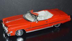 Anson 1/18 Die Cast Car 1973 Cadillac Eldorado Convertible Red, cream interior #Anson #Cadillac