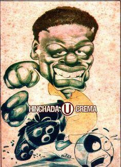 """Caricatura de Andrés """"Balán"""" Gonzáles del año 1990.  Autor: Fernando Mamani..."""