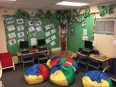 Colorful beanbag chairs make for an inviting corner in the library. Submitted by: Carona Elementary