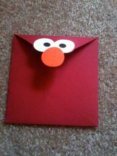 elmo party - invitation envelope - in-the-corner