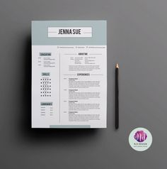 Beautiful edgy resume template for Microsoft Word with matching ...