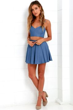 A two-piece dress gives a pretty outfit with bonus separates! Wear our cute two piece dress sets together, or split the top and bottom to change up your look! Cute Blue Dresses, Casual Dresses, Women's Dresses, Formal Dresses, Two Piece Dress, Two Piece Outfit, Light Blue Skater Dress, Skater Skirt, Skater Dresses