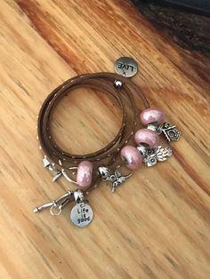Handmade Brown leather bracelet, 4 loops, pink bracelet,owl bracelet by designbyafney on Etsy