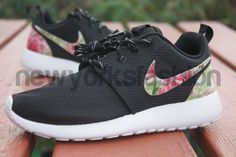 wholesale dealer 8b1b0 4dfdb New Nike Roshe Run Custom Black Rose Garden Batch Floral Women