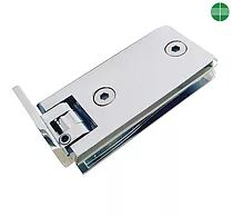 Chrome plated brass hinge to glass door