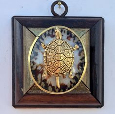 """Gilt Wooden Frame with Turtle on Shell (3"""" wide)"""