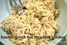 Crock Pot Shredded Chicken. 1 chicken breast=2 cups shredded chicken.  Place chicken, salt, pepper, other spices, and enough broth to cover halfway up the chicken in crockpot, Cook on high for 4 hours, Shred then freeze]