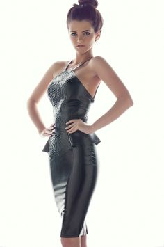 Love the lines on this... embossed latex pencil dress. $359.99, via Etsy.