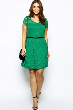 New Look Inspire Cap Sleeve Belted Lace Dress, $43.26, available at ASOS.