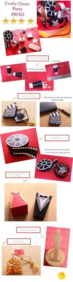EASY #Oscar Party Crafty Gift Bag Ideas Using Construction Paper. by angela