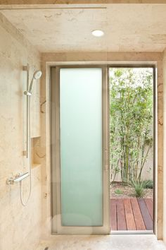 Sliding door in shower.  modern bathroom by Maienza-Wilson Interior Design + Architecture