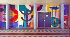Abstract wall painting (1957) by Willem Hussem in the Zuiderpark-school in the post war neighborhood of Morgenstond in The Hague