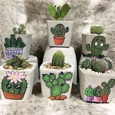 Cute print cactus and succuelent concrete planters.Shop online for all your Cactus and Succulent must haves. Our selection of decorative planters will help you add plenty of personality to your space. Flower Pot Art, Flower Pot Crafts, Clay Pot Crafts, Diy And Crafts, Painted Plant Pots, Painted Flower Pots, Deco Cactus, Cactus Art, Cactus Plants