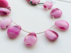 Pink Shaded Chalcedony Chalcedony Smooth Pear by gemsforjewels
