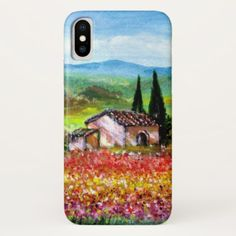 SPRING IN TUSCANY LANDSCAPE Colorful Flower Fields iPhone X Case - rustic gifts ideas customize personalize