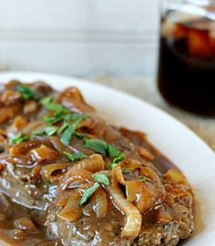 Hamburger Steak with Onions and Brown Gravy Recipe Southern favorite that should also be in everybody's go-to recipe box Brown Gravy Recipe Beef Broth, Meatballs And Brown Gravy Recipe, Brown Gravy Recipe With Drippings, English Brown Sauce Recipe, Recipes Using Beef Broth, Meatloaf Gravy Recipe, Brown Gravy Recipe Easy, Beef Recipes
