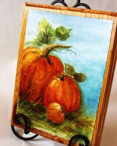 Block Art Original Watercolor Pumpkins Fall by watercolorsRfun, $55.00