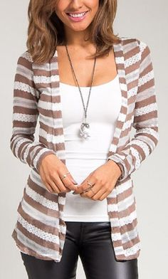 Super adorable tan and white striped cardigan - very flattering for many body types