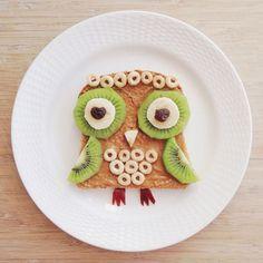 owl toast // Trader Joe's cookie butter, cheerios, kiwi, banana ...