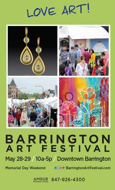 The 7th annual Barrington Art Festival returns Memorial Day weekend along Cook and Station streets in downtown Barrington. The event is free and open to the public, which showcases work of more than 130 juried artists from around the world in a variety of mediums, including ceramics, fiber, glass, jewelry, painting, sculpture, and more! May 28 & 29 from 10am - 5pm.