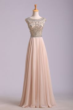 2014 Prom Dress Scoop A Line Floor Length Beaded Tulle Bodice With Chiffon Skirt