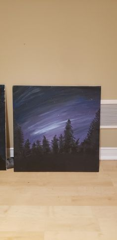 An acrylic painting which potrays the northern lights looking over a forest in the twilight sky and shining stars 20 inch x 20 inch or x cm canvas Shining Star, The Shining, English Coins, Twilight Sky, Acrylic Painting For Beginners, Pine, Art Drawings, Cool Art, Northern Lights