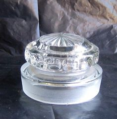 $14.95 VTG Dakota Ground Glass Jar LID ONLY - Faceted Stopper Cap Top #Apothecary Candy