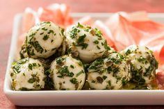 A marinated mozzarella recipe with capers, garlic, and thyme.
