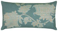 11 Inch X 21 Inch Teal Decorative Pillow With Printed With Embroidery Details