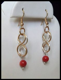 Brass Silver Double Infinity Red Coral Dangle by timelessdesigns07