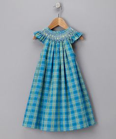 Take a look at this Blue Plaid Geometric Angel-Sleeve Dress - Infant, Toddler & Girls by Blow-Out on #zulily today!