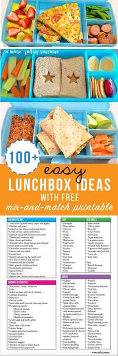 100 Easy Lunchbox ideas with free mix and match printable