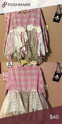 Country chic tunic NWOT Adorable pink plaid country chic tunic handmade NWOT True rebel clothing  Tops Tunics