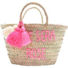 Panier Pompon brodé L'été sera rose - Rose in april