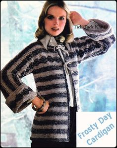 Vintage PDF crochet pattern to make a womans Frosty Day Cardigan Jacket. Circa 1970s. This long cardi with wide cuffs and front ties, gets some