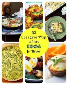 22 Creative Tasty Ways to Have Eggs for Dinner! We have breakfast for dinner every two weeks or so! Breakfast For Dinner, Breakfast Dishes, Breakfast Recipes, Veggie Recipes, Cooking Recipes, Healthy Recipes, Fun Recipes, Egg Recipes For Dinner, Sandwiches